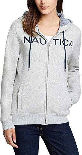 Nautica Women's Full Zip Logo Hoodie Sweatshirt Jacket (Grey Heather, Small)