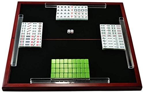 Big Shark draagbare 144 Mahjong game set, Delicate Imitation Ivory Mini Traditionele speelkaarten, reizen, vrije tijd, entertainment met klaptafel
