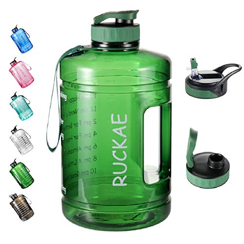 Ruckae Water Bottle, 1 Gallon Water Bottle with Straw and One Replaceable Lids, 128OZ Motivational Water Bottle with Time Marker to Drink Enough Water Daily for Fitness, Outdoor(Dark Green)