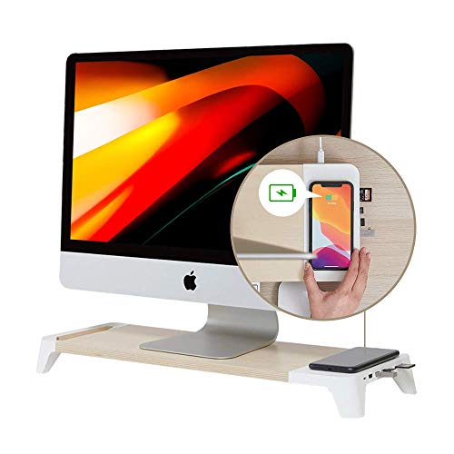 POUT_EYES8 White Wooden Desk Monitor Computer Stand Riser Shelf + Qi 3.0 Fast Wireless Charging Pad + USB Hubs Station for Laptop, Apple, iMac, PC, iPhone8 to 12, Samsung Galaxy 8 to 11
