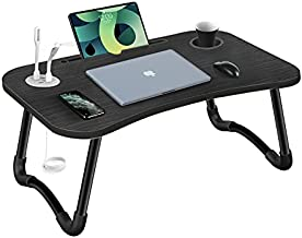 HLHome Laptop Bed Desk,Portable Foldable Laptop Tray Table with USB Charge Port/Cup Holder for Bed /Couch /Sofa Working, Reading