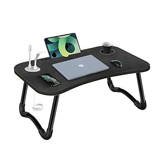 HLHome Laptop Bed Desk,Portable Foldable Laptop Tray Table with USB...