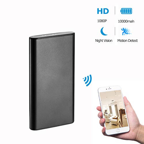 KAMRE Upgrade 1080P 10000mAh Portable WiFi Hidden Power Bank Camera with Motion Detection, Night Vision and Smart LED Light Digital Display, Nanny Spy Camera for Home and Office, Black