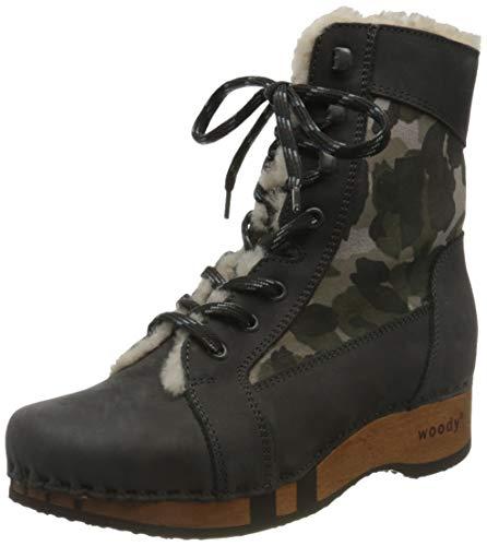 Woody Damen Heike Stiefelette, Grigio-Camouflage,41 EU