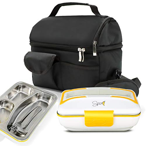 SPICE Set Borsa Termica con Tracolla + Scaldavivande Amarillo Inox Trio vaschetta 3 Scomparti e Set Posate in acciao Inox