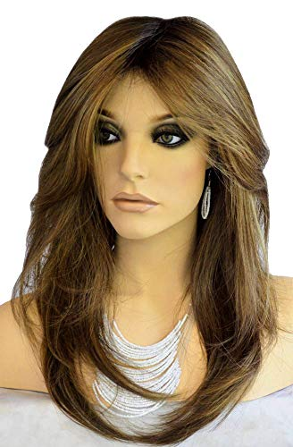 Auflaund Natural Straight Brown Wig Side Part Long Daily Use Hair Wigs with Natural Wave for Women Stunning Heat Resistant Fiber Hair Wig Up to 150 Degree 22 Inches (HST33#/30#)