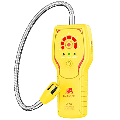 Natural Gas Leak Detector and Propane Methane, CC091 Portable Combustible Gas Sniffer Detector for Small Gas Leak of LPG, LNG, Fuel, Coal Gas, with 12.6-inch Gooseneck Sensor, Visible & Audible Alarm