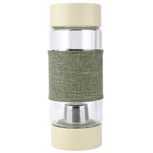 Inicio Botella de agua doble, doble pared Botella de agua portátil de vidrio Separación de té Taza de filtro de acero inoxidable(verde)