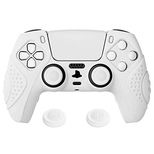 eXtremeRate PlayVital Cover Skin per PlayStation 5 Controller Joystick per PS5 Custodia Protettiva in Silicone Antiscivolo per DualSense con 2 Gommini Coprilevette Analogiche-Guardian(Bianco)