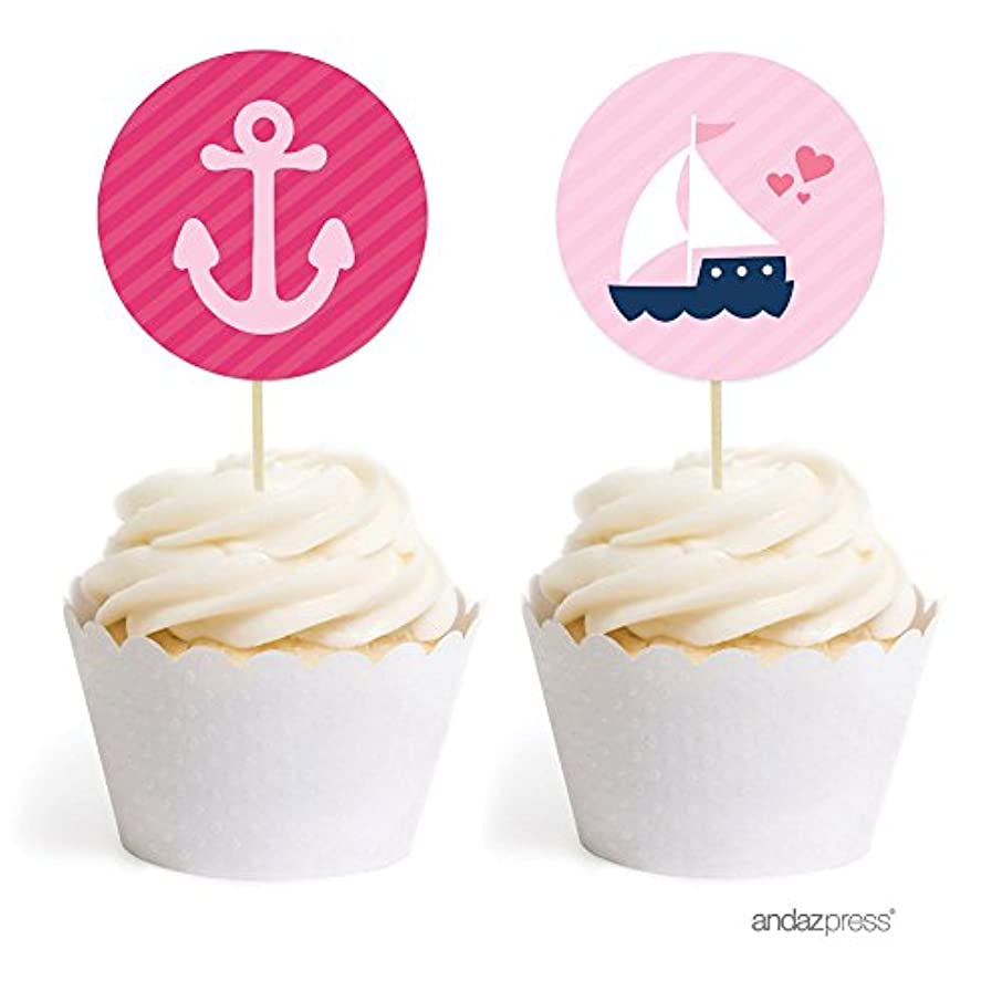 Andaz Press Pink Girl Nautical Baby Shower Collection, Cupcake Topper DIY Party Favors Kit, Babies are Sweet! It's a Pink Girl!, 20-Pack