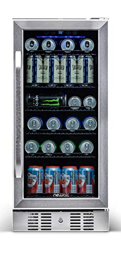 NewAir Beverage Refrigerator Cooler Built In Compressor with 96 Can Capacity - Mini Bar Beer Fridge w/ Adjustable Shelves - Cools to Icy 36F - ABR-960 - Stainless Steel