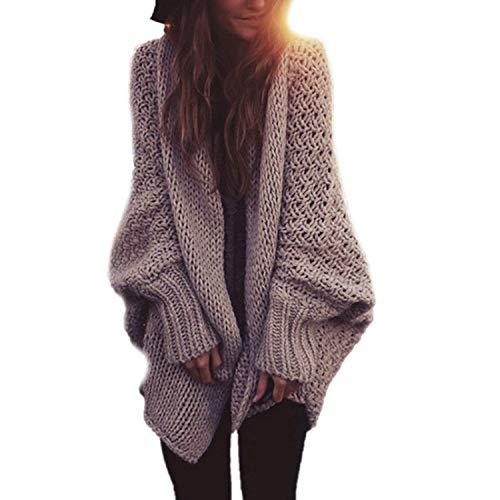 Damen Strickjacke Herbst Winter Oversize Boyfriend Cardigan Fashion Loose Freizeit Kleidung Elegante Basic Strickmantel Normallacks Fledermausärmel Coat Outerwear (Color : Khaki, Size : One Size)