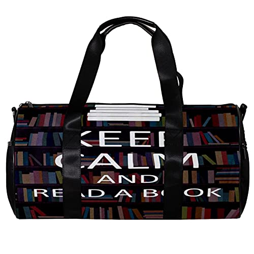 Beach Gym Bag Tote Bags for Women with Zipper Keep Calm and Read a Book Retro Bookshelf Quotes for Beach,Sport,Travel
