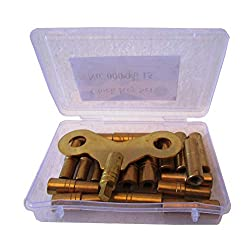 Brass Blessing : 18 Size Solid Brass Clock Winding Keys - 000 to 15 Sizes Total 18 Keys (5020)