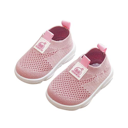 DEBAIJIA Zapatos para Niños 3-18M Bebé Caminan Zapatillas Cordones Transpirables Malla Ligera TPR-Materiale 20/22 EU Rosa (Tamaño Etiqueta 20)