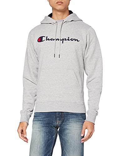Champion Men's Graphic Powerblend Fleece Hoodie, Oxford Grey Script, Medium