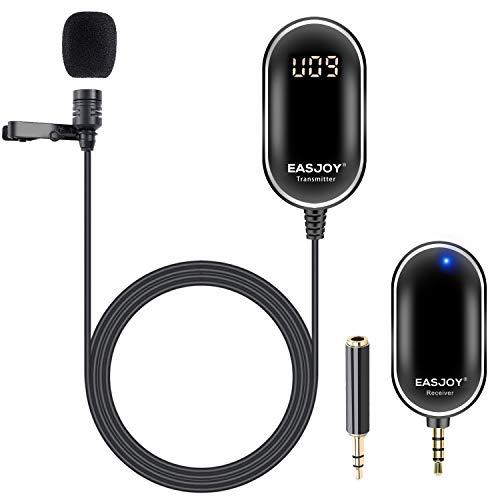 Drahtloses Lavalier-Mikrofon Omnidirektionales Clip On Ansteckmikrofon Aufnahme-Mikrofonsystem mit Echtzeit-Überwachung Kompatibel mit Smartphone, Kamera