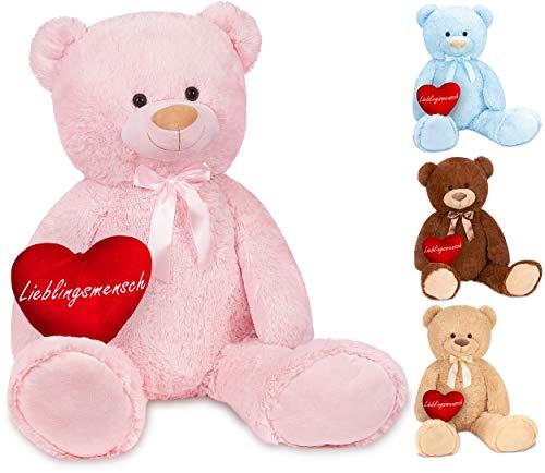 Brubaker XXL Teddybär 100 cm Rosa mit einem Lieblingsmensch Herz Stofftier Plüschtier Kuscheltier