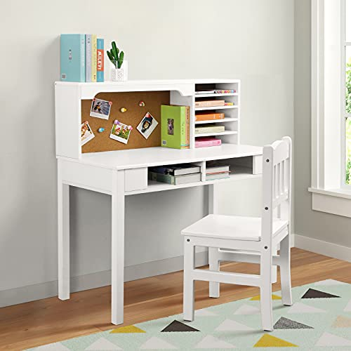 BackH Kids Desk and Chair Set, White Kids Writing Desk with Hutch Bookshelves Drawers and Bulletin Board for Girls Boys, Solid Wood Legs