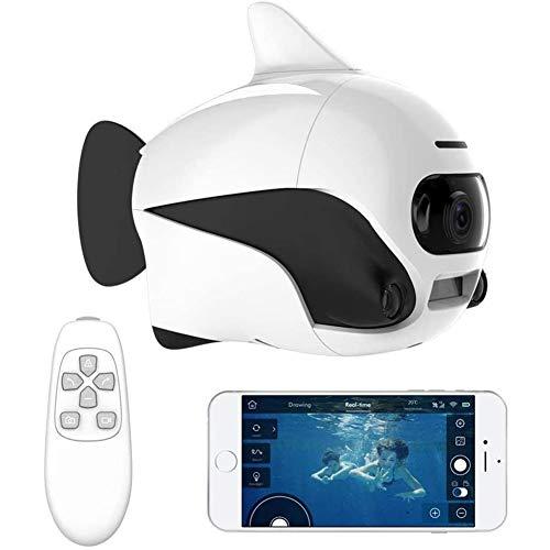 QinLL Biki, Drone Submarino, Control Remoto inalámbrico Sumergible supprot, con cámara 4K HD, conexión WiFi Bionic Design Fish Robot Pet en Pools Lakes, BB,A