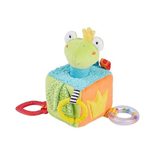 solini Activity-Würfel Froschkönig - Baby-Spielzeug mit Stabgreifling, Rassel, Quietsche, Beißer, Spiegel & Raschelpapier - ab Geburt geeignet