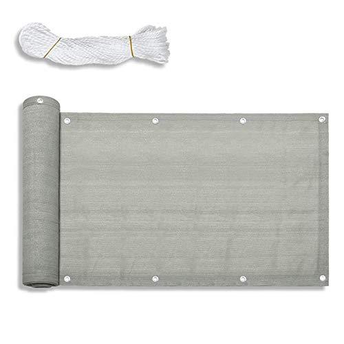 Froadp 90x600cm HDPE Balkonbespannung mit Ösen und Kordel Blickdicht Windschutz Sonnenschutz Balkonverkleidung für Gartenzaun Balkonzaun(Grau)