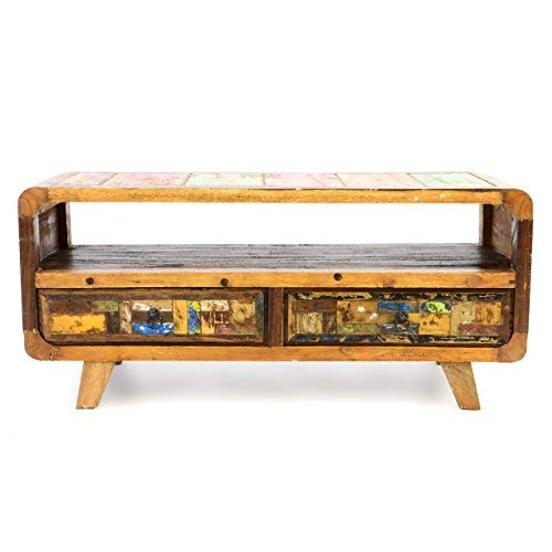 Divero Vintage TV Schrank Fernsehschrank Phonomöbel Sideboard Kommode – Shabby Chic Rustikal Möbel Unikate aus Recycling-Holz Bootsholz – bunt 100 x 42 x 45 cm