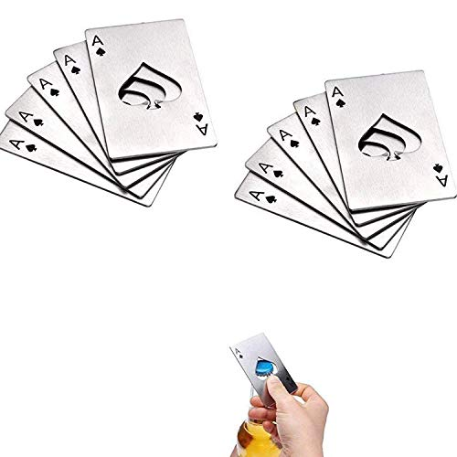 Wohlstand 10Pcs Pik eine geformte Kreditkartengröße, (8.5x5.4cm) Casino Poker Flaschenöffner für Eröffnungsfeier, Leistungen an Arbeitnehmer, Preisverleihung