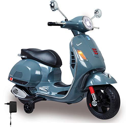 Jamara 460441 Ride-on Vespa 12V-krachtige aandrijfmotor en accu voor lange rijtijd, SD-kaartsleuf, AUX-/USB-aansluiting, ultra-grip rubberen ring op de wiel, steunwielen, LED-koplamp, grijs