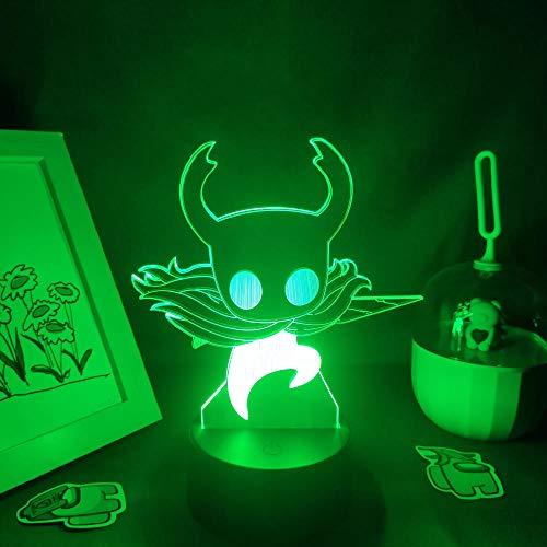 3D Night Light Hollow Knight - Juego de luces 3D LED RGB, luces de noche neón, juguete para amigos, niños, mesa de salón, decoración colorida, regalo de cumpleaños para niños