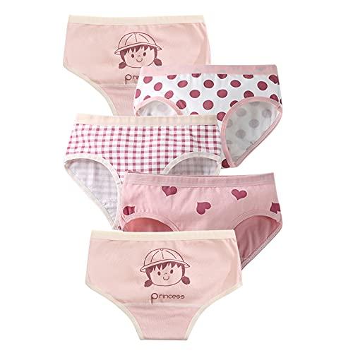 MiSense 5 Pezzi Mutandine Bambina Cotone Mutande Culotte Bimba Slip Bambine e Ragazze 2-8 Anni(2 Anni, SJ103-S)