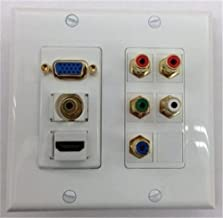 CERTICABLE CUSTOM MADE DOUBLE GANG WALL PLATE IN WHITE - SVGA + HDMI + 3.5MM STEREO + RCA COMPONENT (RED, GREEN, BLUE) RCA STEREO (RED, WHITE)