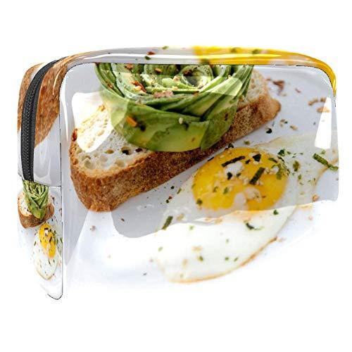 TIZORAX Kosmetiktasche für Eier, Brot, Frühstück, PVC, Make-up-Tasche, Reise-Toilettenartikel, praktischer Organizer für Frauen