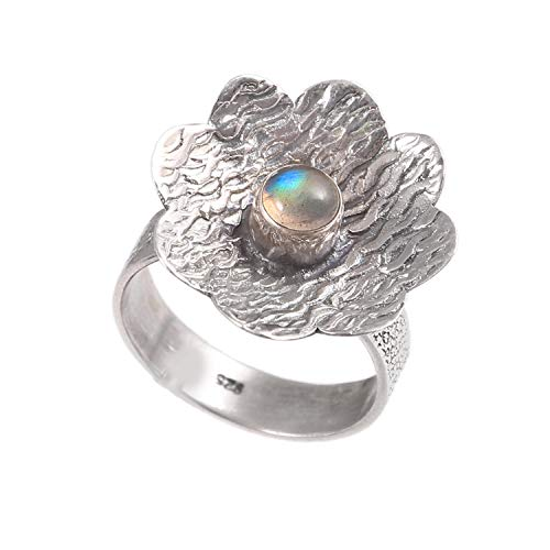 Natural Gemstone Ring| Smooth Round Labradorite Flower Shape Ring| 925 Sterling Silver Unisex Ring|Valentines Gift| Ring Size 7.5 US