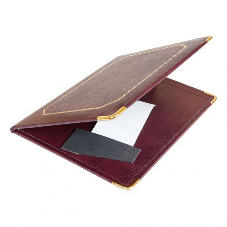 Folder sjabloon factuur 16,5 x 22,5 cm bordeaux leer - 1 on.