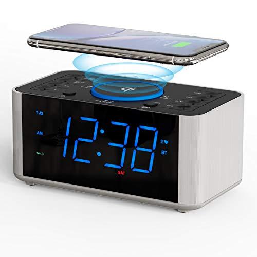 iTOMA Radio Despertador, Carga inalámbrica Qi, repetición, Alarma Dual Bluetooth, Pantalla LED con atenuador, Reloj sin tictac para cabecera (CKS910)