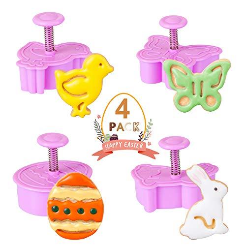 LIHAO 4 pezzi Stampini Tagliabiscotti Pasqua per Decorazioni in Dolci, Fondente, Biscotti e la Pasta di Zucchero (Uovo, Coniglio, Pulcino, Farfalla)
