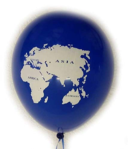jakopabra 15 Luftballons Weltkugel blau