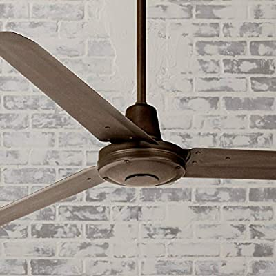 """60"""" Turbina Modern Industrial Outdoor Ceiling Fan with Light Remote Control Oil Rubbed Bronze Damp Rated for Patio Porch - Casa Vieja"""