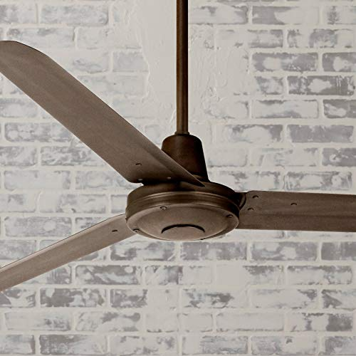 "60"" Turbina Modern Industrial Outdoor Ceiling Fan Remote Control Oil Rubbed Bronze Damp Rated for Patio Porch - Casa Vieja"