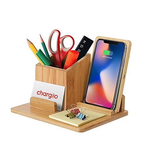 Chargio Wireless Charger Desk Organizer, Wireless Charging Pad and Pen Holder, Fast Wireless Charger 10W with Galaxy S10/S9/Note Series, 7.5W with iPhone X,9,8 Series, 5W