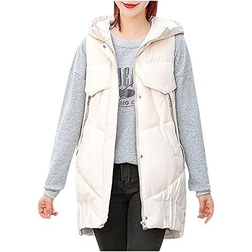 pamkyaemi Chaleco de plumón para mujer, de algodón, sin mangas, largo chaleco deportivo con capucha, chaqueta acolchada de invierno, con bolsillos, chaleco largo acolchado, Blanco, XXXL