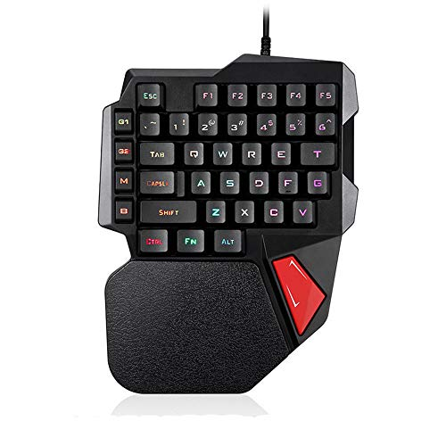 FELiCON Tastiera da gioco a una mano K108 Tastiera da gioco cablata nera 38 tasti 3 colori LED retroilluminato Usb Multimedia Anti-Ghosting Gioco da tavolo Tastiera per gamer con supporto da polso per