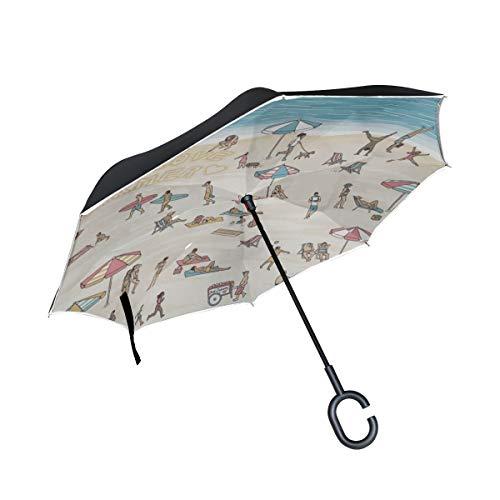 Doble Capa Plegable invertido Paraguas Silla de Paseo Verano Personas Tomar el...