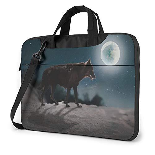Fox On Moon Night Laptop Shoulder Messenger Bag,Laptop Shoulder Bag Carrying Case with Handle Laptop Case Laptop Briefcase 15.6 Inch Fits 14 15 15.6 inch Netbook/Laptop