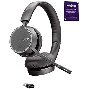 Plantronics Voyager 4220 UC (USB-A) Wireless Headset Bundle with Headset Advisor Wipe