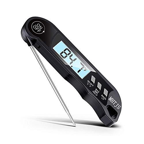 SMHTJ Food Thermometer - EIN verbessertes wasserdichtes IP67-Kochthermometer mit Hintergrundbeleuchtung, Magnet und hochpräzisem Großbildschirm (Backen, Süßigkeiten, Grillen, Flüssigkeit) schwarz