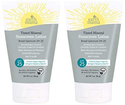 Product Image of the Earth Mama Tinted Mineral Sunscreen Lotion SPF 25 With Organic Argan Oil,...