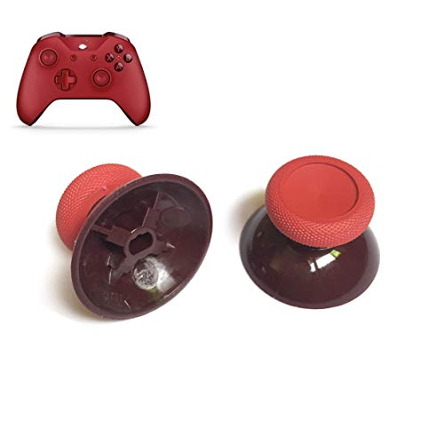 2Pcs 3D Analog Joystick Caps Thumb Grip Stick Cap Thumbstick Replacement for Xbox One Xbox One Slim Xbox One Elite Xbox One X Controller Thumbsticks Grips Repair Parts (Red)