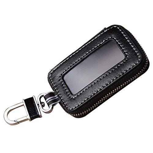 Esdrem Unisex Echt lederen autosleutelhouder Sleutelhanger met ritssluiting met doorzichtig venster Zwart 2